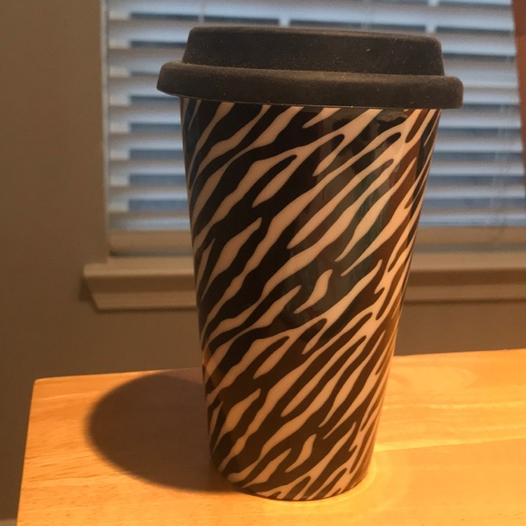 Eco One Other Zebra Print Coffee Tumblr W Black Silicone Lid